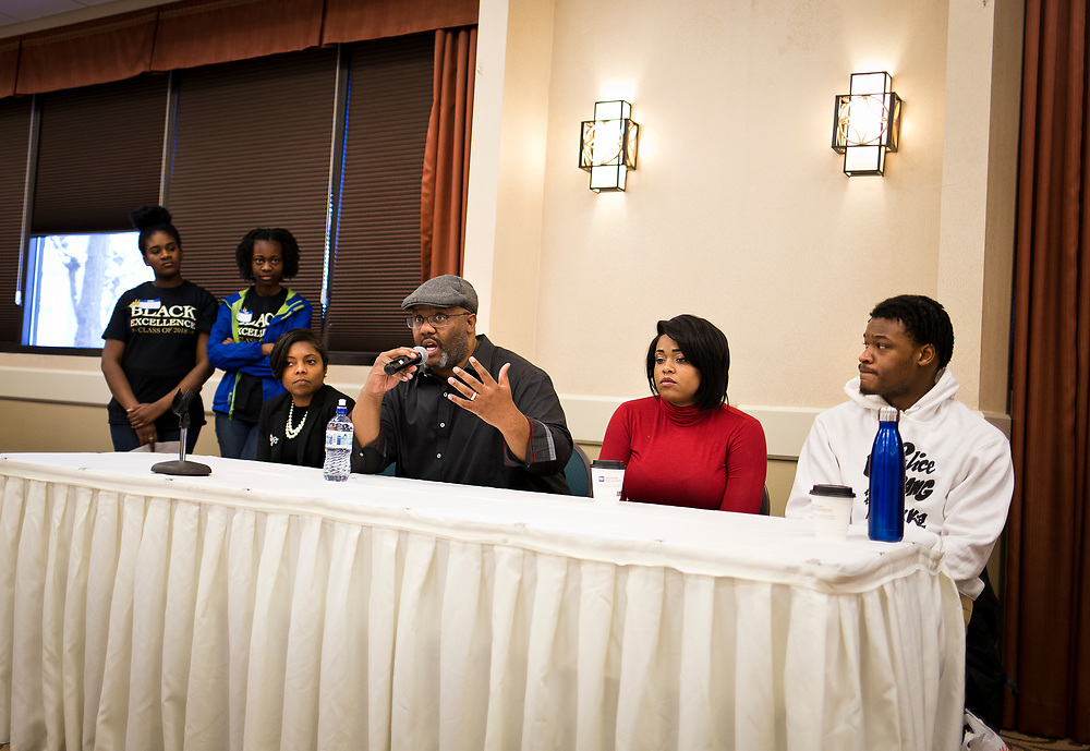 "Henry Sanders responds to a question on the panel ""The Hustle and The Successes"" during the Black Excellence Youth Conference at the Best Western Plus Inntowner on Monday, Jan. 15, 2018."
