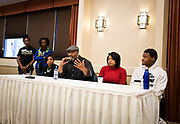 """Henry Sanders responds to a question on the panel """"The Hustle and The Successes"""" during the Black Excellence Youth Conference at the Best Western Plus Inntowner on Monday, Jan. 15, 2018."""