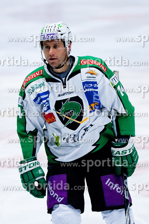 Matej Hocevar (HDD Tilia Olimpija, #14) during ice-hockey match between HC Orli Znojmo and HDD Tilia Olimpija in 16th Round of EBEL league, on October 28, 2011 at Zimni stadion, Znojmo, Czech Republic. (Photo By Matic Klansek Velej / Sportida)