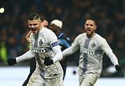 Foto Spada/LaPresse<br /> 31 gennaio 2019 Milano , Italia <br /> sport<br /> calcio<br /> Inter - Lazio  - Coppa Italia Quarti di finale -  2018/2019 -Stadio <br /> San Siro <br /> Nella foto: esultanza dopo il gol icardi 1-1<br /> <br /> EXCLUSIVE MILAN <br /> Photo Spada/LaPresse<br /> January  31 , 2019 Milan , Italy<br /> sport<br /> soccer <br /> Inter vs Lazio - Football Italian Cup 2018/2019 - San Siro Stadium<br /> In the pic: celebrates after scoring icardi 1-1