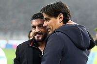 Milan-Lazio - Serie A 22a giornata - Nella foto : Simone Inzaghi  e Gennaro Gattuso