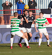 26th December 2017, Dens Park, Dundee, Scotland; Scottish Premier League football, Dundee versus Celtic; Dundee's Sofien Moussa battles for the ball with Celtic's Kristoffer Ajer