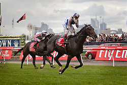 Melbourne cup winning Jockey Gerald Mosse about to kiss the air meters away from the finish line at Flemington Race Course in Melbourne Australia