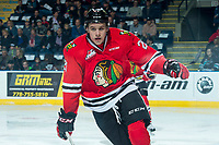 KELOWNA, CANADA - APRIL 8: Brendan De Jong #21 of the Portland Winterhawks skates against the Kelowna Rockets on April 8, 2017 at Prospera Place in Kelowna, British Columbia, Canada.  (Photo by Marissa Baecker/Shoot the Breeze)  *** Local Caption ***