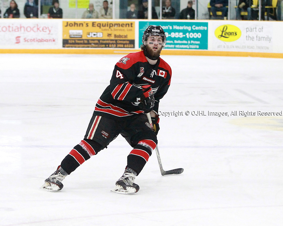 TRENTON, ON  - MAY 5,  2017: Canadian Junior Hockey League, Central Canadian Jr. &quot;A&quot; Championship. The Dudley Hewitt Cup. Game 7 between Georgetown Raiders and the Powassan Voodoos. Griffin James #4 of the Georgetown Raiders follows the play during the first period.<br /> (Photo by Tim Bates / OJHL Images)