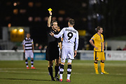 Forest Green Rovers Forward, Christian Doidge (9) is shown the yellow card during the Vanarama National League match between Sutton United and Forest Green Rovers at Gander Green Lane, Sutton, United Kingdom on 14 March 2017. Photo by Adam Rivers.