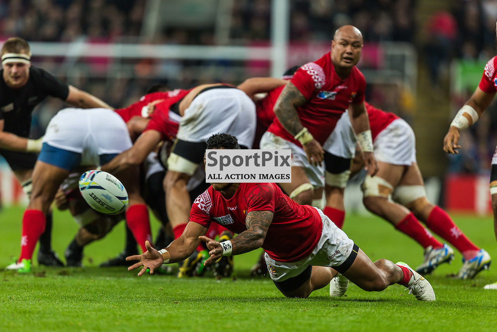 Sonatane Takulua in action during the Rugby World Cup match between New Zealand and Tonga (c) ROSS EAGLESHAM | Sportpix.co.uk