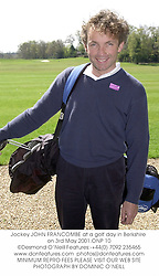 Jockey JOHN FRANCOMBE at a golf day in Berkshire on 3rd May 2001.<br />