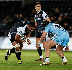 2nd November, Liberty Stadium , Swansea, Wales ; Guinness pro 14's Ospreys Rugby v Glasgow Warriors ;  Ma'afu Fia of Ospreys lines up George Turner of Glasgow Warriors<br /> <br /> Credit: Simon King/News Images<br /> <br /> Photographer Simon King/Replay Images<br /> <br /> Guinness PRO14 Round 8 - Ospreys v Glasgow Warriors - Friday 2nd November 2018 - Liberty Stadium - Swansea<br /> <br /> World Copyright © Replay Images . All rights reserved. info@replayimages.co.uk - http://replayimages.co.uk