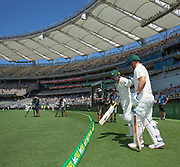 14th December 2018, Optus Stadium, Perth, Australia; International Test Series Cricket, Australia versus India, second test, day 1; Marcus Harris and Aaron Finch of Australia touch gloves before entering the playing field to open the batting for Australia on day 1 of the second test against India