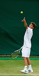 LONDON, ENGLAND - Monday, July 2, 2012: Pol Peter Ashley (GBR) during the Boys' Singles 1st Round match on day seven of the Wimbledon Lawn Tennis Championships at the All England Lawn Tennis and Croquet Club. (Pic by David Rawcliffe/Propaganda)