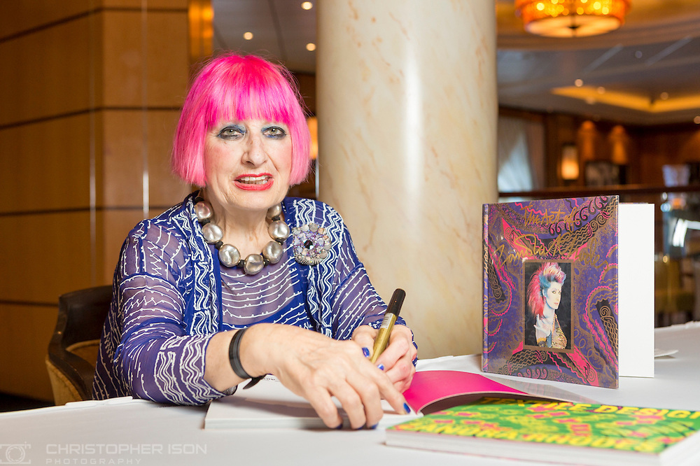Dame Zandra Rhodes' book signing aboard Queen Mary 2 during Cunard's first Transatlantic Fashion Week. The voyage set sail from Southampton and will arrive in to New York City for the start of New York Fashion Week on the 8th September. <br /> Picture date: Wednesday September 7, 2016.<br /> Photograph by Christopher Ison &copy;<br /> 07544044177<br /> chris@christopherison.com<br /> www.christopherison.com