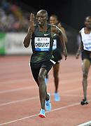Timothy Cheruiyot (KEN) wins the 1,500m in 3:30.27 during the Weltklasse Zurich in an IAAF Diamond League meeting at Letzigrund Stadium in Zurich, Switzerland on Thursday, August 30, 2018.(Jiro Mochizuki/Image of Sport)