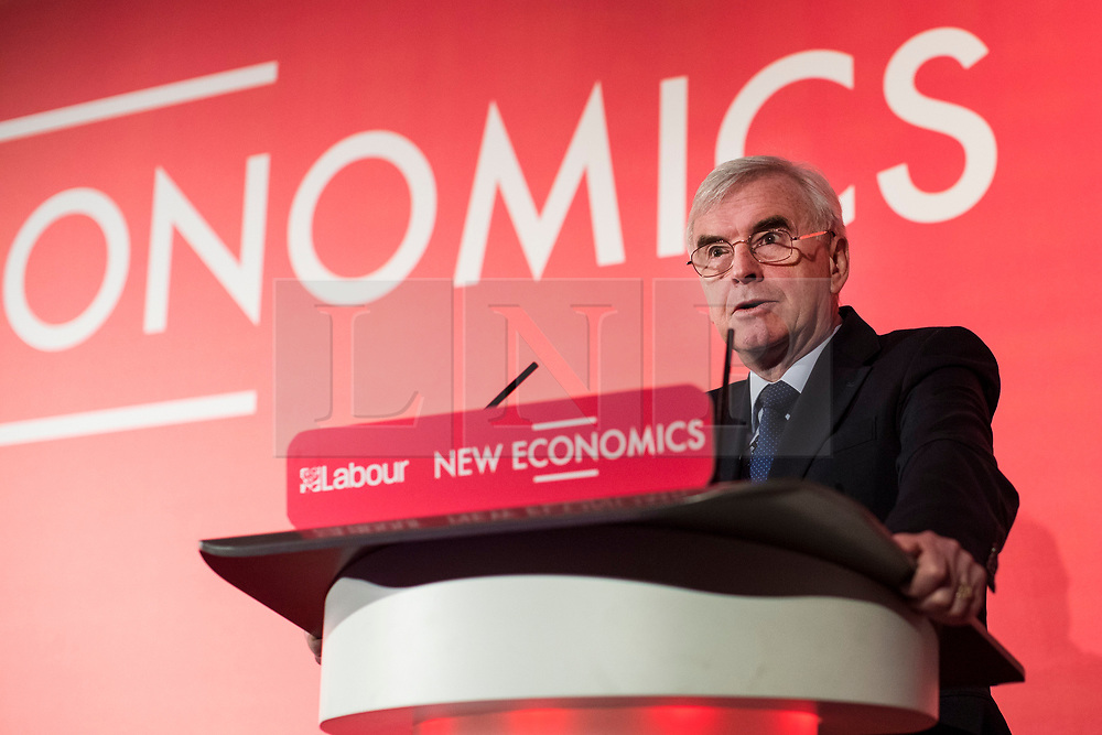© Licensed to London News Pictures. 10/02/2018. London, UK. Shadow Chancellor John McDonnell gives a speech at a Labour Party conference on alternative models of ownership following the collapse of construction firm Carillion and the termination of the East Coast rail franchise. Photo credit: Rob Pinney/LNP