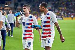 March 21, 2019 - Orlando, FL, U.S. - ORLANDO, FL - MARCH 21: United States midfielder Weston McKennie (8) chats with United States midfielder Christian Pulisic (10) in game action during an International friendly match between the United States and Ecuador on March 21, 2019 at Orlando City Stadium in Orlando, FL. (Photo by Robin Alam/Icon Sportswire) (Credit Image: © Robin Alam/Icon SMI via ZUMA Press)