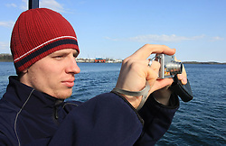 Ales Music at whale watching boat, when some guys of Slovenian Team were celebrating an anniversary of playing for the team, during IIHF WC 2008 in Halifax,  on May 07, 2008, sea at Halifax, Nova Scotia, Canada. (Photo by Vid Ponikvar / Sportal Images)