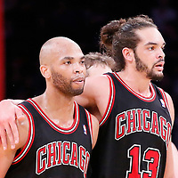 09 February 2014: Chicago Bulls center Joakim Noah (13) congratulates Chicago Bulls power forward Taj Gibson (22) during the Chicago Bulls 92-86 victory over the Los Angeles Lakers at the Staples Center, Los Angeles, California, USA.