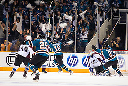 April 16, 2010; San Jose, CA, USA; San Jose Sharks right wing Devin Setoguchi (16) celebrates after scoring a goal against Colorado Avalanche goaltender Craig Anderson (second from right) during the overtime period of game two in the first round of the 2010 Stanley Cup Playoffs at HP Pavilion. The Sharks defeated the Avalanche 6-5 in overtime. Mandatory Credit: Jason O. Watson / US PRESSWIRE