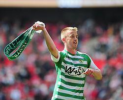 Yeovil Town's goal scorer Paddy Madden celebrates Yeovil Town's promotion into the Npower Championship after winning the League 1 Play-Off Final - Photo mandatory by-line: Dougie Allward/JMP - Tel: Mobile: 07966 386802 19/05/2013 - SPORT - FOOTBALL - LEAGUE 1 - PLAY OFF - FINAL - Wembley Stadium - London - Brentford V Yeovil Town