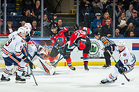 KELOWNA, BC - OCTOBER 12: Nolan Foote #29 of the Kelowna Rockets loses his footing after a shot on net during the first period against the Kamloops Blazers  at Prospera Place on October 12, 2019 in Kelowna, Canada. (Photo by Marissa Baecker/Shoot the Breeze)