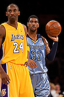06 November 2009: Guard Kobe Bryant of the Los Angeles Lakers and OJ Mayo of the Memphis Grizzles during the first half of the Lakers 114-98 victory over the Grizzles at the STAPLES Center in Los Angeles, CA.