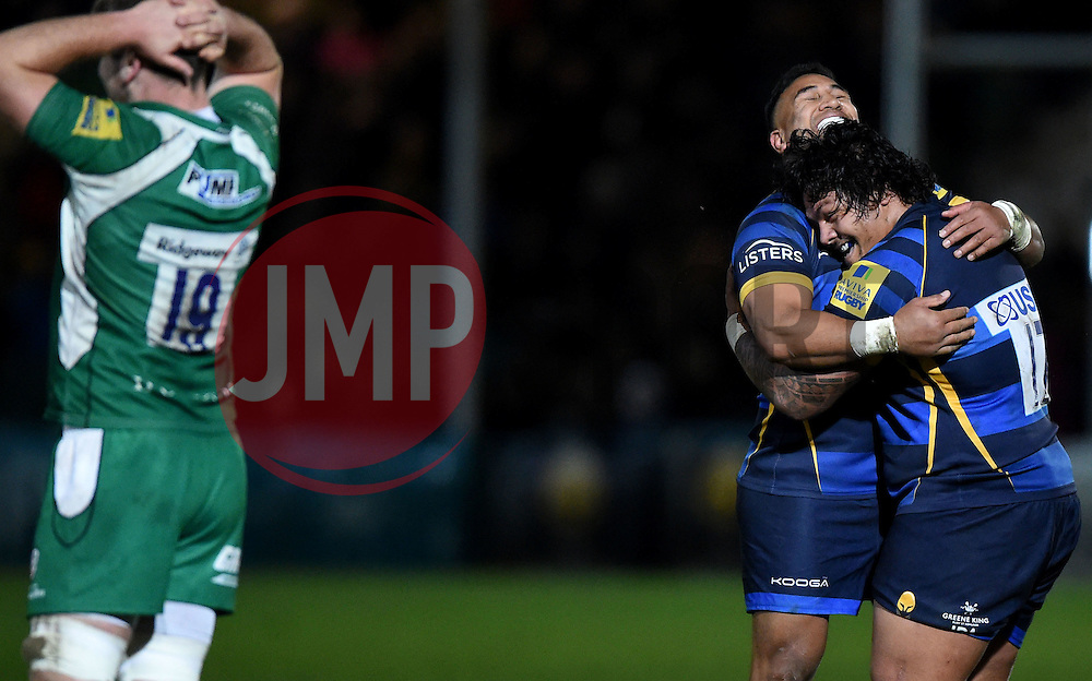 Worcester Warriors Winger Cooper Vuna celebrates on the final whistle with Worcester Warriors replacement Na ama Leleimalefaga  - Mandatory by-line: Joe Meredith/JMP - 26/03/2016 - RUGBY - Sixways Stadium - Worcester, England - Worcester Warriors v London Irish - Aviva Premiership