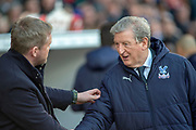 Doncaster Rovers Manager Grant McCann goes over to greet Crystal Palace Manager Roy Hodgson during the The FA Cup 5th round match between Doncaster Rovers and Crystal Palace at the Keepmoat Stadium, Doncaster, England on 17 February 2019.