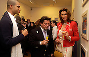 Frank Guyton, Anne Marie  Sten and Joseph Gale Pacetti-de Medici, Private view of 40 limited edition prints especially created by Howard Hodgkin for Elton John AIDS Foundation, Alan Christea Gallery, 6 February 2003. All proceeds from the evening benefit Elton John AIDS Foundation.© Copyright Photograph by Dafydd Jones 66 Stockwell Park Rd. London SW9 0DA Tel 020 7733 0108 www.dafjones.com