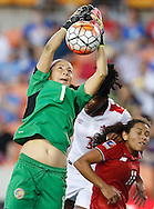 Feb 19, 2016; Houston, TX, USA; Costa Rica Goalkeeper Dinnia Di?az (1) makes a save against Canada in the second half during the semifinals of the 2016 CONCACAF women's Olympic soccer tournament at BBVA Compass Stadium. Canada won 3 to 1. Mandatory Credit: Thomas B. Shea-USA TODAY Sports