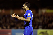 AFC Wimbledon midfielder Tom Soares (14) after a miss during the EFL Sky Bet League 1 match between AFC Wimbledon and Rochdale at the Cherry Red Records Stadium, Kingston, England on 28 March 2017. Photo by Matthew Redman.