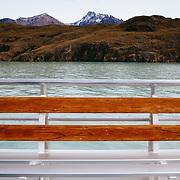 Tourists viewing Glacier Viedma with Lago Viedma Los Glaciares National Park Patagonia Argentina.