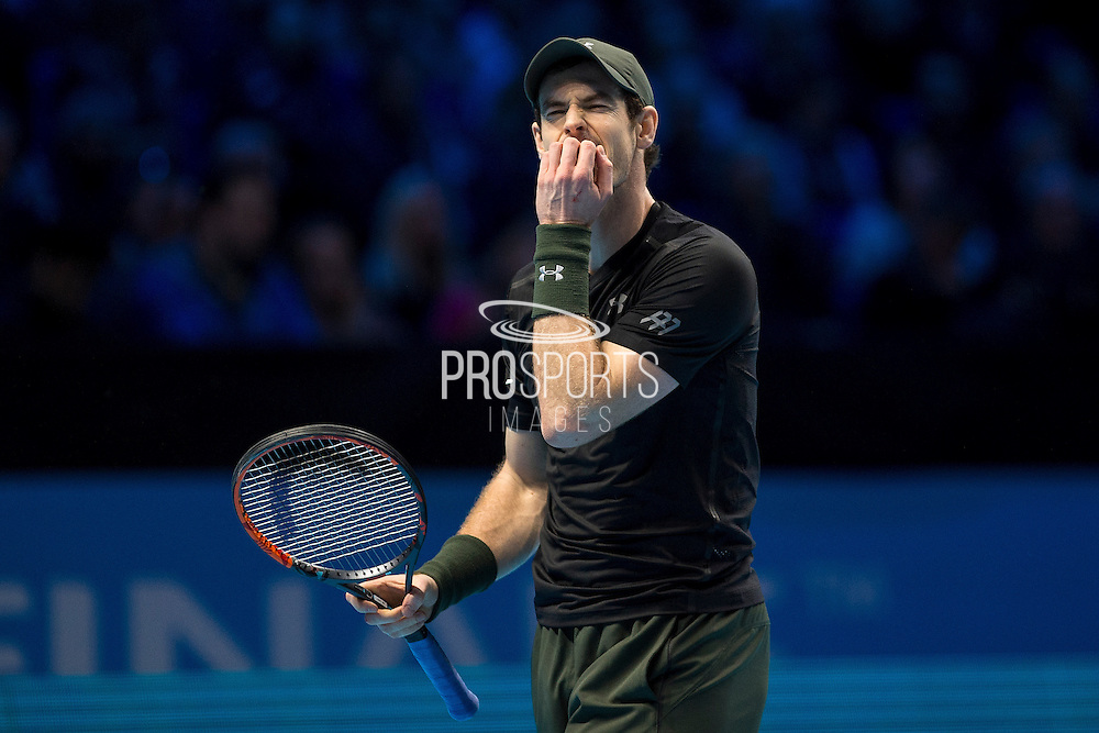 Andy Murray of Great Britain bites his nails during the semi-final and day seven of the Barclays ATP World Tour Finals at the O2 Arena, London, United Kingdom on 19 November 2016. Photo by Martin Cole.