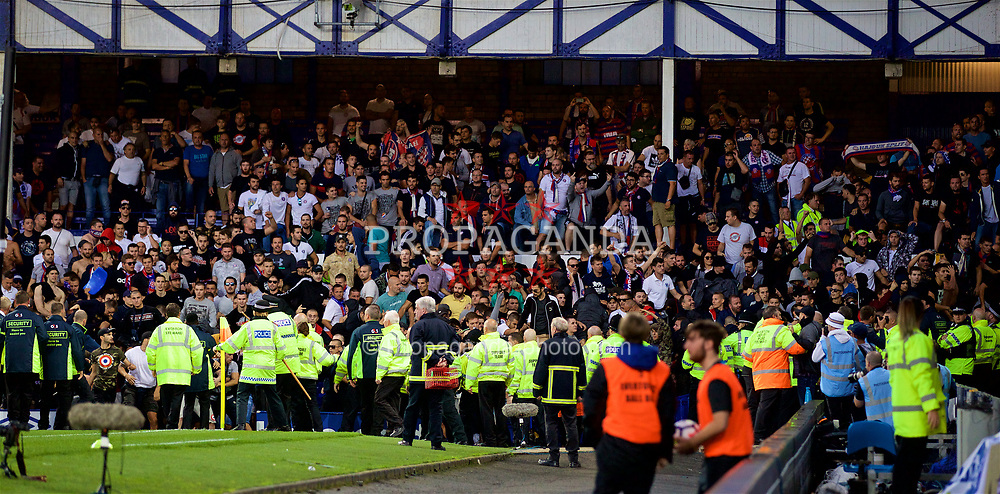 LIVERPOOL, ENGLAND - Thursday, August 17, 2017: HNK Hajduk Split supporters fight during the UEFA Europa League Play-Off 1st Leg match between Everton and HNK Hajduk Split at Goodison Park. (Pic by David Rawcliffe/Propaganda)
