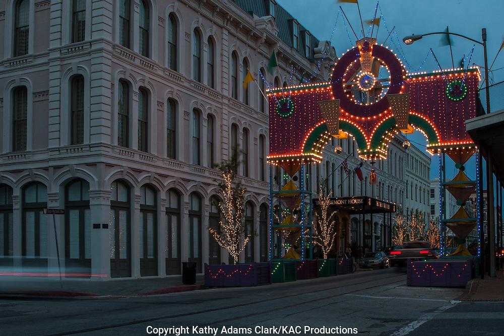 Night Photography of Mardi Gras decorations in Galveston, Texas.