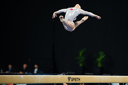 MELBOURNE, Feb. 24, 2019  China's Zhao Shiting competes during women's balance beam final at World Cup Gymnastics in Melbourne, Australia on Feb. 24, 2019. Zhao Shiting won the gold medal with a score of 13.566. (Credit Image: © Eilzabeth Xue Bai/Xinhua via ZUMA Wire)