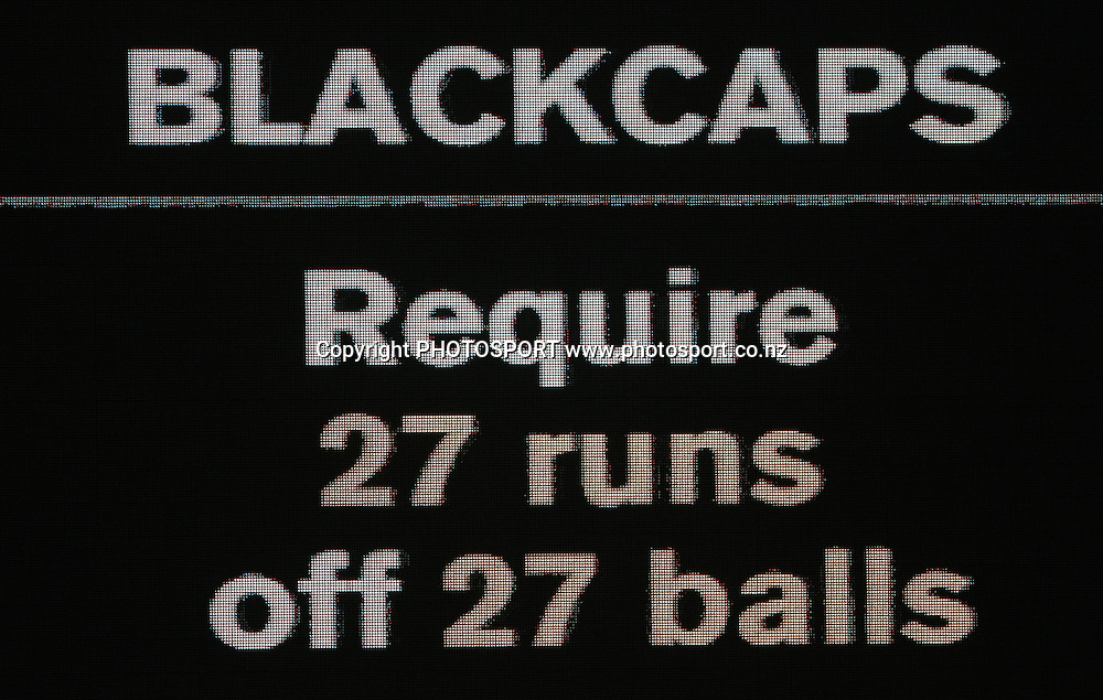 The scoreboard shows the run rate required.<br />2nd one day international. New Zealand Black Caps versus Australia one day Chappell Hadlee cricket series. Eden Park, Auckland, New Zealand. Saturday 6 March 2010. Photo: Andrew Cornaga/PHOTOSPORT