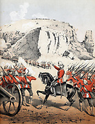 Robert Cornelius Napier, 1st Baron Napier of Magdala (1810-90) British soldier; Field-marshal 1883. Abyssinian Expedition: Napier storming Magdala, 13 April 1868. Coloured lithograph from 'The Battle of Abyssinia', divertimento composed by J Pridham c1868
