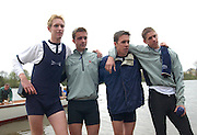 BROTHERS DAVID LIVINGSONE BEN SMITH MATT SMITH JAMES LIVINGSTONE AFTER ROWING THE 149TH OXFORD CAMBRIDGE BOAT RACE.OXFORD BEAT CAMBRIDGE BY THE SHORTEST OF MARGINS,ONE FOOT.6.4.03.PIX STEVE BUTLER