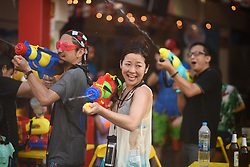 April 12, 2018 - Bangkok, Thailand - Thai and foreign tourists holding water gun join the Songkran festival at Khaosan road in Bangkok during ''Songkran Water Festival Campaign Safe 2018 '' that will be held from 12th to 15th April. (Credit Image: © Vichan Poti/Pacific Press via ZUMA Wire)