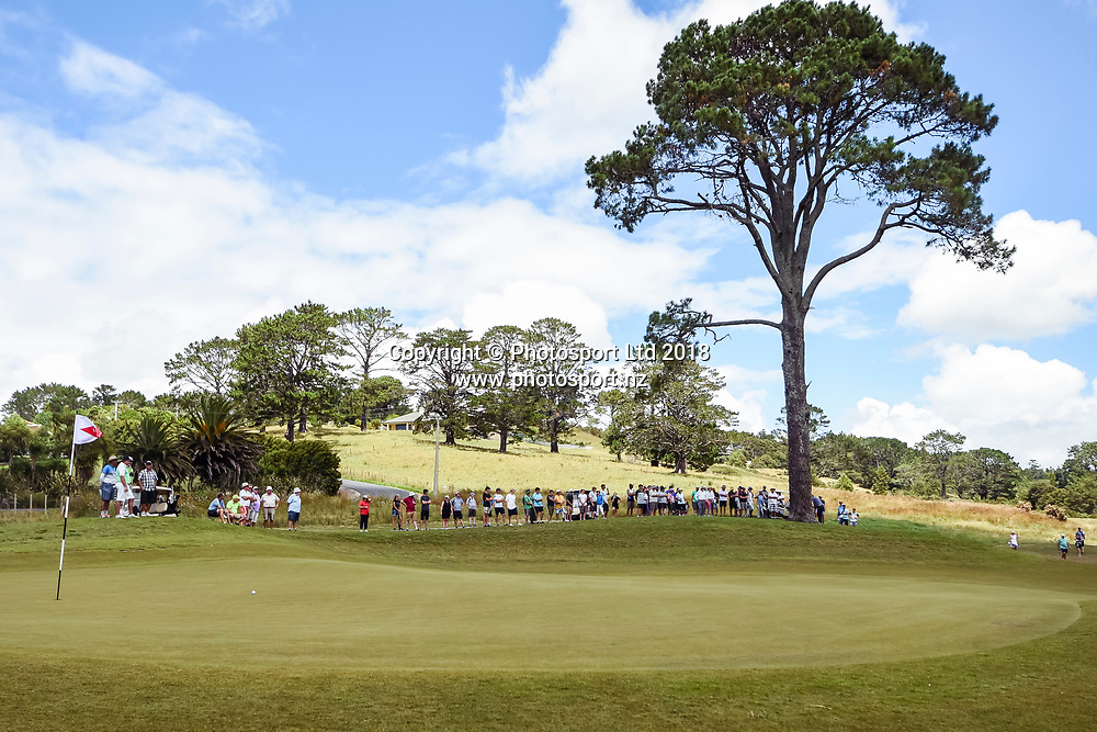 Wainui Golf course general view and supporters.<br /> NZ Rebel Sports Masters, Wainui Golf Club, Wainui, Auckland, New Zealand. 14 January 2018. &copy; Copyright Image: Marc Shannon / www.photosport.nz.