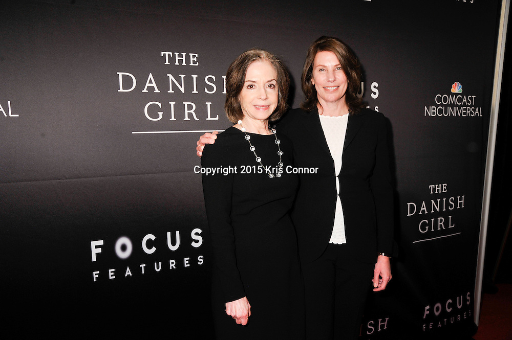 """Gail Mutrux and Anne Harrison, producers, The Danish Girl, attend the DC premiere of Focus Features' """"THE DANISH GIRL"""" at the United States Navy Memorial in Washington DC on November 23, 2015.  (Photo by Kris Connor for Focus Features)"""