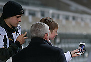 Aston Villa Manager Steve Bruce poses for a selfie with Newcastle United fans during the EFL Sky Bet Championship match between Newcastle United and Aston Villa at St. James's Park, Newcastle, England on 20 February 2017. Photo by Simon Davies.