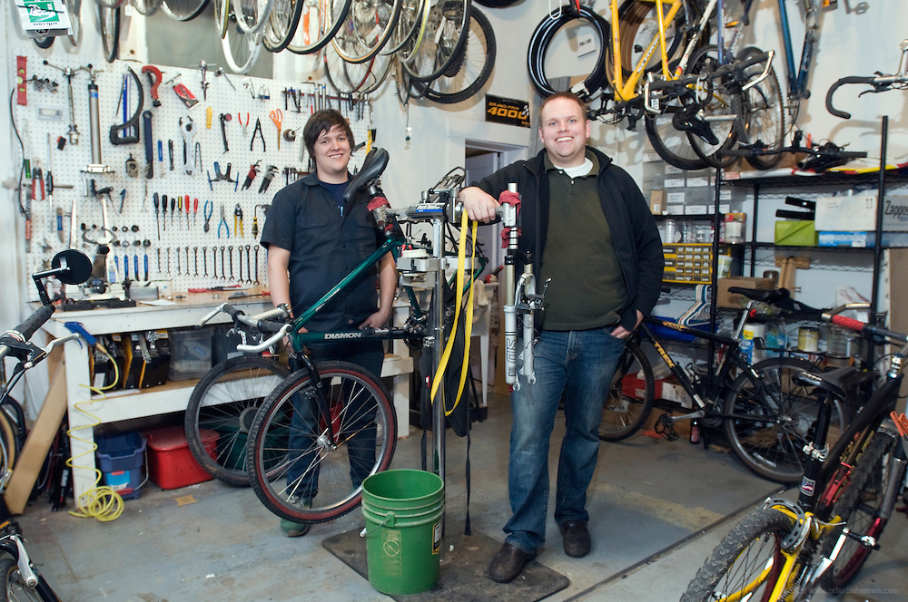 Derek Fetko, left, and Drew Hartman, owners of On Your Left Cycles at 618 Baxter Ave., photographed Wed., March 11, 2009 in Louisville, Ky. (Photo by Brian Bohannon/www.brianbohannon.com)