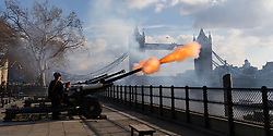 © Licensed to London News Pictures. 06/02/2018. London, UK. A 62 gun salute is fired at the Tower of London in front of Tower Bridge, by the Honourable Artillery Company to celebrate the 66th anniversary of HM The Queen's accession to the throne. Photo credit: Vickie Flores/LNP