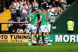 Yeovil Town's James Hayter celebrates his goal with team mates- Photo mandatory by-line: Dougie Allward/Josephmeredith.com  - Tel: Mobile:07966 386802 01/09/2012 - SPORT - FOOTBALL - League 1 -  Yeovil  - Huish Park -  Yeovil Town v Doncaster Rovers