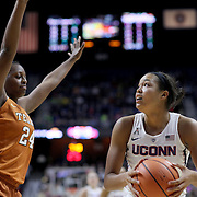 UNCASVILLE, CONNECTICUT- DECEMBER 4: Napheesa Collier #24 of the Connecticut Huskies looks to shoot while defended by Joyner Holmes #24 of the Texas Longhorns during the UConn Huskies Vs Texas Longhorns, NCAA Women's Basketball game in the Jimmy V Classic on December 4th, 2016 at the Mohegan Sun Arena, Uncasville, Connecticut. (Photo by Tim Clayton/Corbis via Getty Images)
