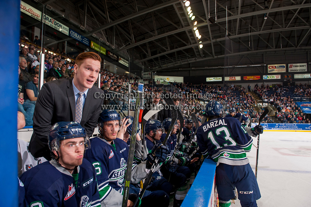 KELOWNA, CANADA - APRIL 25: Seattle Thunderbirds' assistant coach Tyler Alos stands on the bench against the Kelowna Rockets on April 25, 2017 at Prospera Place in Kelowna, British Columbia, Canada.  (Photo by Marissa Baecker/Shoot the Breeze)  *** Local Caption ***