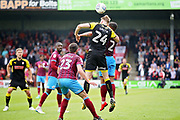 A header from Rotherham United forward Michael Smith (24) during the EFL Sky Bet League 1 match between Scunthorpe United and Rotherham United at Glanford Park, Scunthorpe, England on 12 May 2018. Picture by Nigel Cole.
