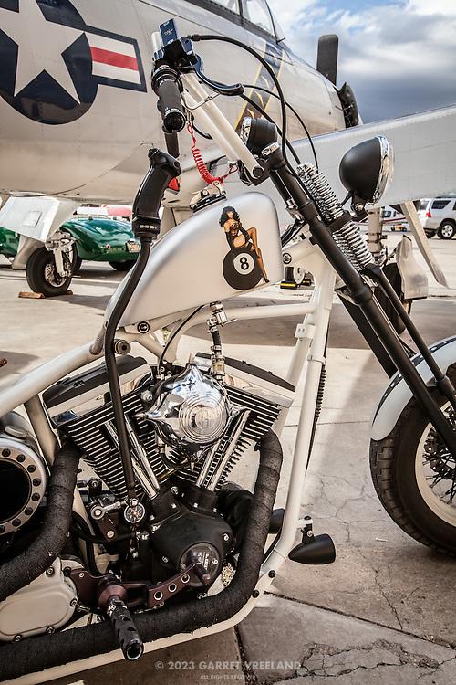 Custom motorcycle, Planes and Cars at the Santa Fe Airport, 2013 Santa Fe Concorso.