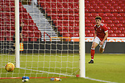 Forest's Danny Preston celebrates after scoring a goal to make it 1-2 during the U23 Professional Development League Play-Off Final match between Nottingham Forest and Bolton Wanderers at the City Ground, Nottingham, England on 4 May 2018. Picture by Jon Hobley.